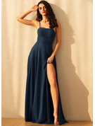 A-Line Square Neckline Floor-Length Chiffon Evening Dress With Split Front Pockets