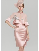 Sheath/Column V-neck Knee-Length Charmeuse Mother of the Bride Dress