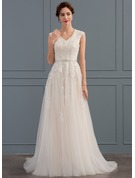 A-Line V-neck Sweep Train Tulle Wedding Dress With Beading Sequins Bow(s)