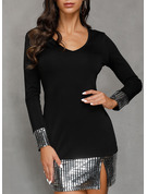 Polyester With Sequins/Solid Above Knee Dress