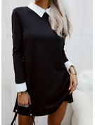 Color Block Shift Shirt collar Long Sleeves Midi Elegant Tunic Dresses