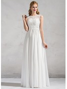 Scoop Neck Floor-Length Chiffon Lace Wedding Dress With Beading Sequins