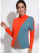 Long Sleeves Polyester Stand collar T-shirt Blouses