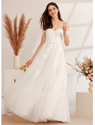 A-Line Off-the-Shoulder Floor-Length Wedding Dress With Beading Sequins