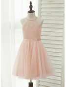 A-Line/Princess Knee-length Flower Girl Dress - Tulle Charmeuse Sleeveless Halter With Back Hole