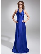 Sheath/Column Halter Sweep Train Charmeuse Holiday Dress With Ruffle Beading
