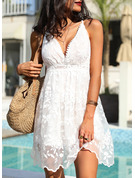 Lace Solid A-line Spaghetti Straps Sleeveless Midi Sexy Vacation Type Dresses