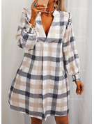 Plaid Shift V-Neck Long Sleeves Midi Casual Tunic Dresses