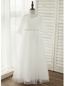 A-Line/Princess Floor-length Flower Girl Dress - Tulle/Lace 3/4 Sleeves Scoop Neck With Bow(s)