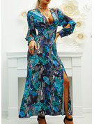 Print A-line V-Neck Long Sleeves Maxi Party Skater Dresses