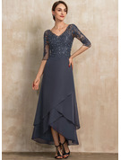 V-neck Asymmetrical Chiffon Lace Mother of the Bride Dress With Beading Sequins