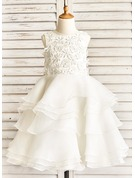 A-Line/Princess Tea-length Flower Girl Dress - Organza Sleeveless Scoop Neck With Ruffles/Beading/Appliques