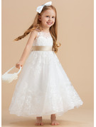 A-Line/Princess Ankle-length Flower Girl Dress - Satin/Tulle/Lace Sleeveless Scoop Neck With Sash/Bow(s)