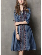 Denim With Stitching/Embroidery Midi Dress