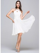 A-Line/Princess V-neck Knee-Length Chiffon Satin Homecoming Dress With Pleated