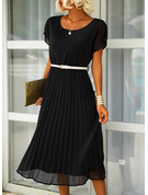 Solid A-line Round Neck Short Sleeves Midi Casual Dresses