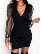 Sequins Solid Bodycon V-Neck Long Sleeves Midi Elegant Little Black Party Dresses