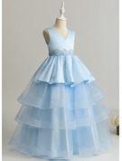 Ball-Gown/Princess Floor-length Flower Girl Dress - Tulle Lace Sleeveless V-neck