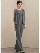Jumpsuit/Pantsuit Scoop Neck Ankle-Length Chiffon Mother of the Bride Dress