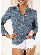 Long Sleeves Polyester V Neck Blouses