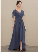 V-neck Asymmetrical Chiffon Evening Dress With Beading Sequins