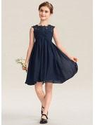 Empire Scoop Neck Knee-Length Chiffon Lace Junior Bridesmaid Dress