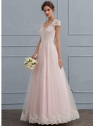 Ball-Gown/Princess V-neck Floor-Length Tulle Wedding Dress With Beading Sequins