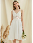 V-neck Knee-Length Chiffon Lace Wedding Dress With Sequins