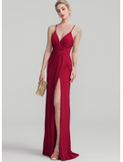 Sheath/Column V-neck Floor-Length Jersey Prom Dresses With Ruffle