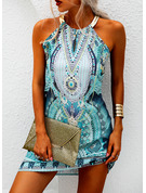 Print Shift Halter Sleeveless Midi Casual Vacation Tank Dresses