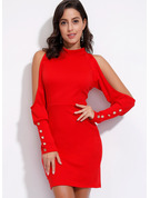 Polyester With Button/Solid Above Knee Dress