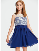 A-Line Scoop Neck Knee-Length Chiffon Lace Junior Bridesmaid Dress With Sequins Bow(s)