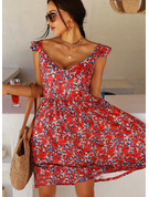 Floral Print Shift V-Neck Sleeveless Midi Casual Vacation Dresses
