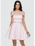 A-Line/Princess Off-the-Shoulder Short/Mini Satin Cocktail Dress With Beading Sequins