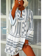 Print Shift V-Neck Long Sleeves Midi Boho Casual Vacation Tunic Dresses