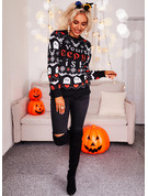 Round Neck Long Sleeves Regular Halloween Print Heart Animal Letter Casual Pullovers