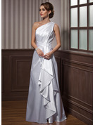 One-Shoulder Floor-Length Charmeuse Evening Dress With Cascading Ruffles