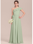 A-Line One-Shoulder Floor-Length Chiffon Junior Bridesmaid Dress With Cascading Ruffles