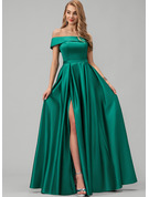 A-Line Off-the-Shoulder Floor-Length Satin Bridesmaid Dress With Split Front Pockets