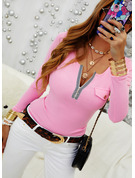 Regular Cotton Blends V-Neck Solid Knit Blouses