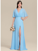 V-neck Floor-Length Chiffon Bridesmaid Dress With Bow(s) Split Front