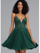 V-neck Short/Mini Chiffon Prom Dresses With Beading Sequins