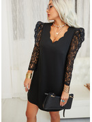 Lace Solid Shift V-Neck 3/4 Sleeves Puff Sleeves Midi Elegant Little Black Tunic Dresses
