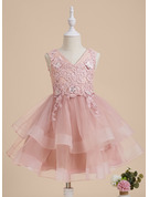 Knee-length Flower Girl Dress - Tulle Lace Sleeveless V-neck With Beading Flower(s) Sequins