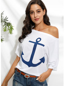 1/2 Sleeves Polyester Off the Shoulder T-shirt Blouses