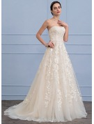 A-Line/Princess Sweetheart Sweep Train Tulle Lace Wedding Dress With Beading Sequins