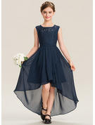 Scoop Neck Asymmetrical Chiffon Lace Junior Bridesmaid Dress