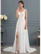 A-Line/Princess V-neck Court Train Chiffon Wedding Dress With Split Front