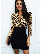 Leopard Print Bodycon V-Neck Long Sleeves Midi Elegant Dresses