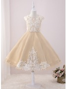 Ball-Gown/Princess Tea-length Flower Girl Dress - Tulle/Lace Sleeveless Scoop Neck With Beading/Sequins